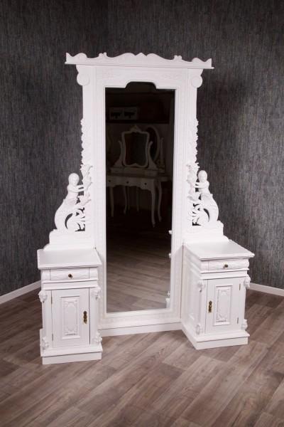Barock Spiegel Ankleidespiegel mit Schränken Goldgriffe, Repro-Antik-Design, Mahagoni massiv Holz, lackiert in weiß, Meerjungfrau aufwendige schnitzerei, ausgefallen