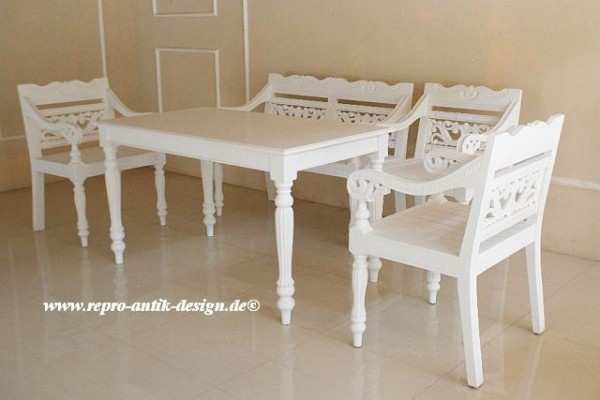 Barock Esszimmer Stuhl Tisch Garnitur Landhaus Polstermöbel, Repro-Antik-Design,Mahagoni massiv Holz, weiß, aufwendige Holzschnitzerei