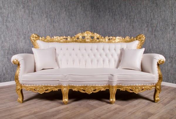 Barock Sofa Couch Polstermöbel, Repro-Antik-Design, Mahagoni Massiv Holz, belegt mit Blattgold, weiß Kunstleder Goldnieten, aufwendige Holzschnitzerei, ausgefallen