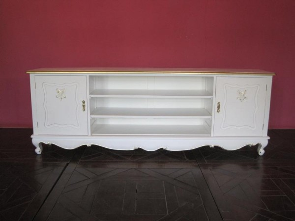Barock Kommode Tv-Sideboard Repro-Antik-Design, Mahagoni Massiv Holz
