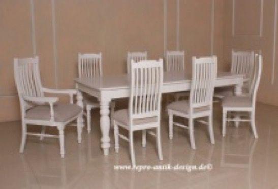 barock esszimmer garnitur colonial antik wei 1 tisch mit 8 st hlen esszimmergarnituren. Black Bedroom Furniture Sets. Home Design Ideas