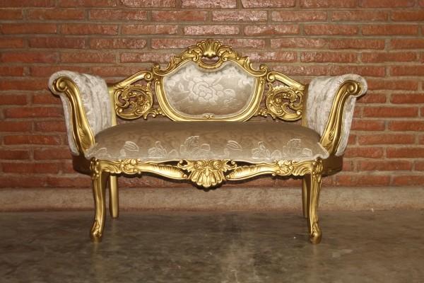 Barock Sofa Polstermöbel, Repro-Antik-Design, Mahagoni massiv Holz, gold