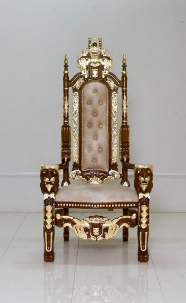 Barock Stuhl Königsstuhl Thronstuhl Repro-Antik-Design, Mahagoni massiv holz, aufwendige Holzschnitzerei Löwe, Stoffbezug