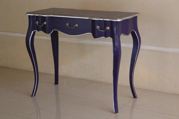 Barock Tisch Schreibtisch Repro-Antik-Design Massiv Holz Mahagoni lila silber lackiert