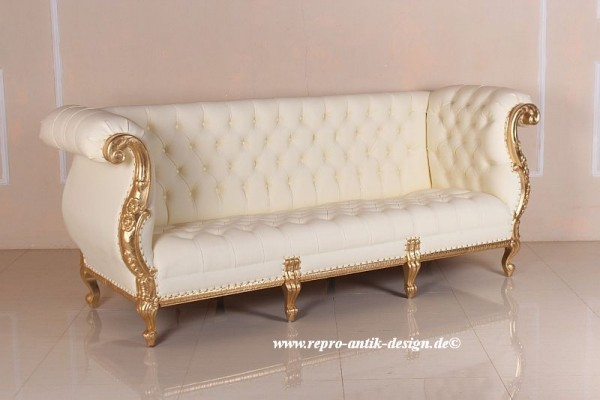 Barock Sofa Couch , Repro-Antik-Design, Mahagoni massiv holz,Blattgold, aufwendige Holzschnitzerei, Kunstleder