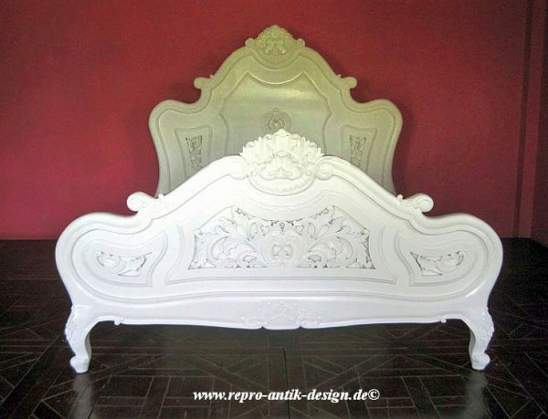 Barock Bett French Shell, Repro-Antik-Design, Mahagoni Massiv Holz exclusive ausgefallen