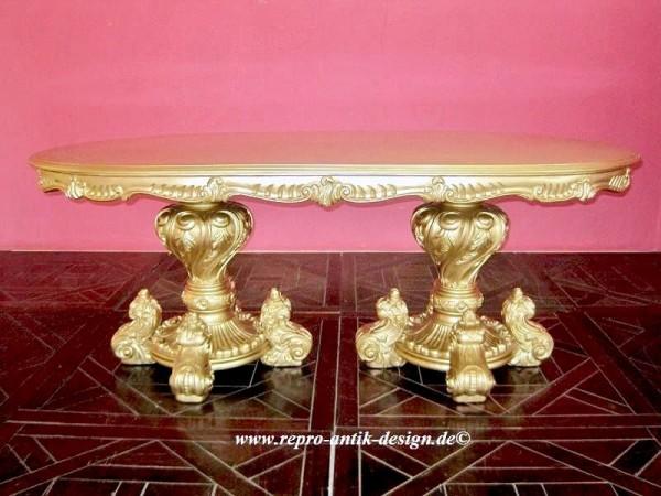 Barock Tisch Esszimmer, Repro-Antik-Design, Blattgold , Mahagoni massiv holz, Holzschnitzerei , ausgefallen exekutive
