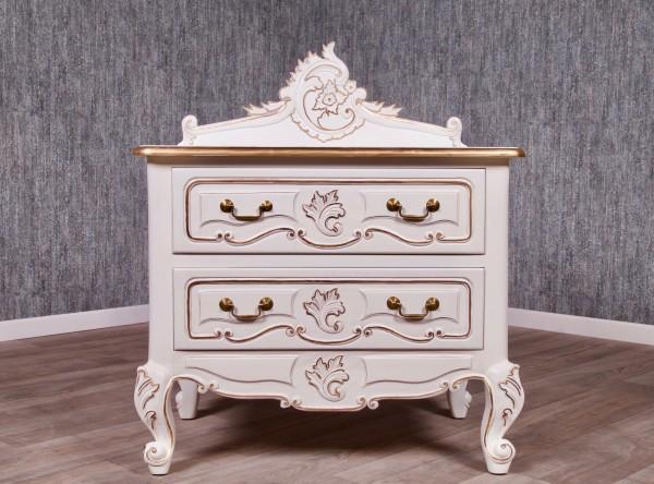 Barock Nachttisch, Repro-Antik-Design, Mahagoni Massiv Holz ausgefallen weiß mit Gold Dekor exclusive.