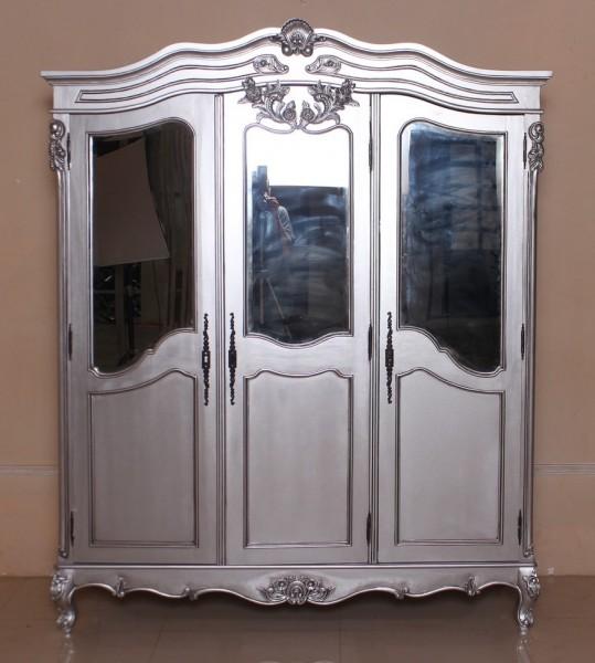 Barock Schrank 3 trüg mit Spiegel, Repro-Antik-Design, silber, Mahagoni massiv holz, ausgefallen exclusive