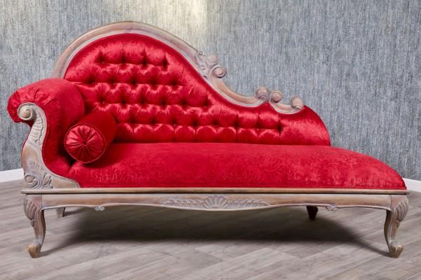 Barock Sofa Recamiere , Repro-Antik-Design, Mahagoni massiv Holz braun aufwendige Holzschnitzerei  Bezug rot
