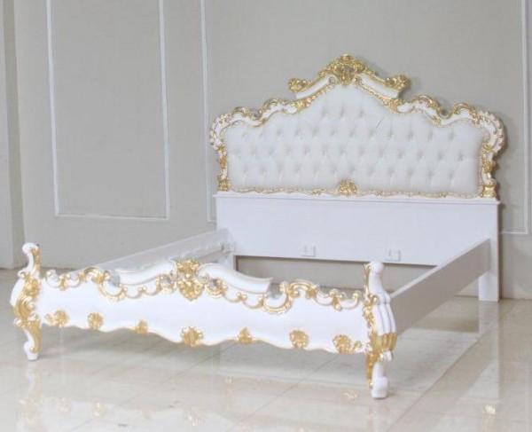 Barock Bett, Repro-Antik-Design, Mahagoni Massiv Holz ausgefallen, belegt mit Blattgold