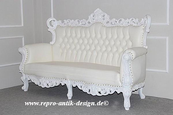 Barock Sofa Polstermöbel, Repro-Antik-Design, Mahagoni massiv Holz, Goldnieten, Kunstleder, weiß lackiert, Holzschnitzerei