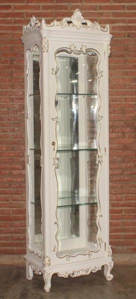 Barock Vitrine Vista, 1-türig, lackiert in weiß mit gold Dekor
