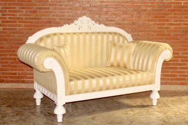 Barock Sofa 2-Sitzer, Repro-Antik-Design, Mahagoni massiv holz weiß aufwendige Holzschnitzerei gold creme Stoffbezug