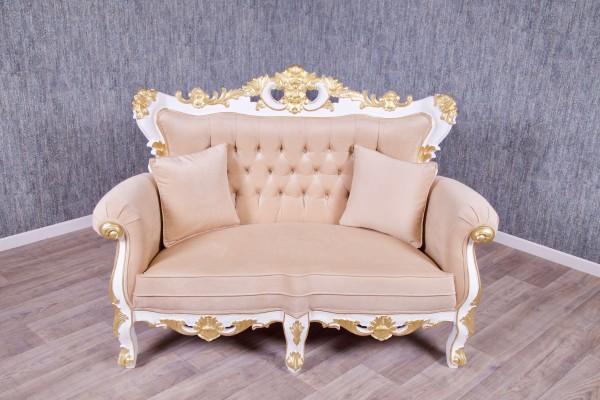 Barock Sofa Polstermöbel Thronstuhl Königsstuhl, Repro-Antik-Design, Mahagoni massiv holz gold weiß lackiert,aufwendige Holzschnitzerei, Kunstleder creme braun.