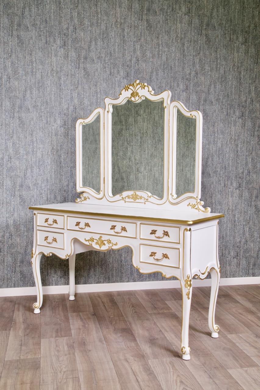 Barock schminktisch rdm 016 mit stuhl in wei mit starkem gold dekor sale sofort verf gbar - Barock schminktisch ...
