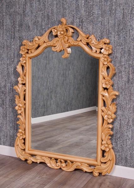 Barock Spiegel Wandspiegel Ankleidespiegel, Repro-Antik-Design, Mahagoni massiv Holz, lackiert in hellbraun ,aufwendige schnitzerei, ausgefallen