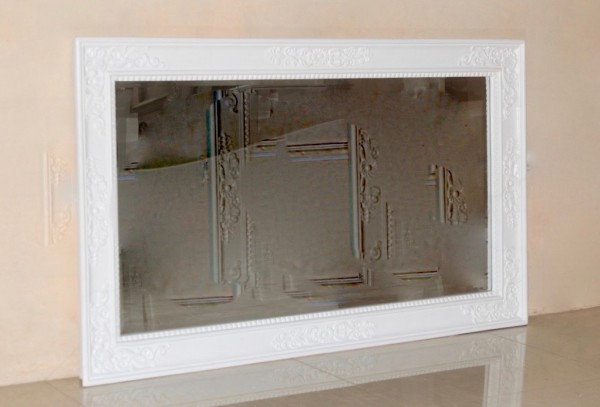 Barock Wandspiegel Spiegel, Repro-Antik-Design, weiß , Mahagoni massiv holz, ausgefallen exclusive