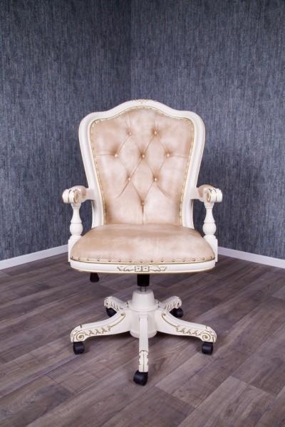 Barock Bürostuhl Cwivel, Elfenbein mit leichten gold Dekor