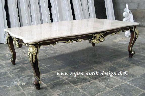 Barock Tisch Couchtisch, Repro-Antik-Design, Mahagoni massiv Holz aufwendige Holzschnitzerei