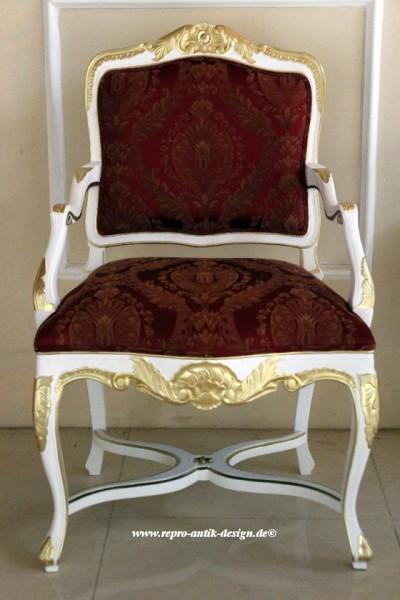 Barock Stuhl Sessel Polstermöbel, Repro-Antik-Design, Mahagoni massiv Holz, aufwendige Holzschnitzerei  , weiß gold rot Ornamenten