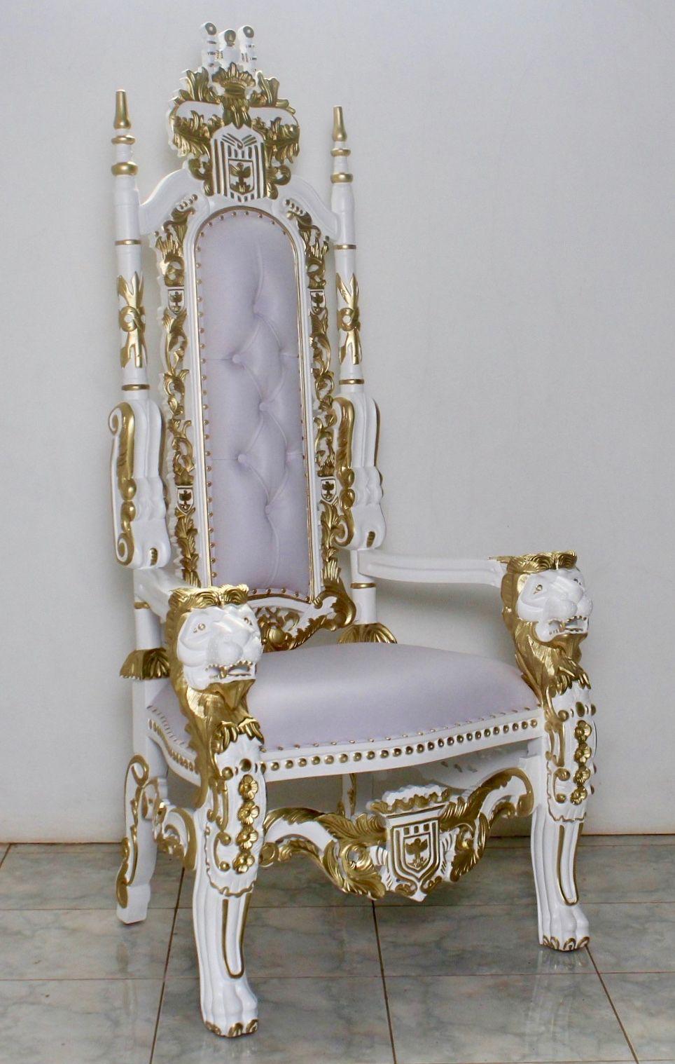 barock thronstuhl k nigsstuhl l wenstuhl lackiert in antik. Black Bedroom Furniture Sets. Home Design Ideas