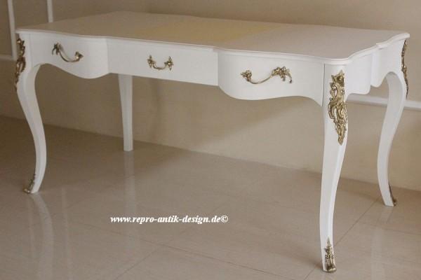Barock Schreibtisch Repro-Antik-Design Massiv holz Mahagoni ausgefallen weiß gold Dekor