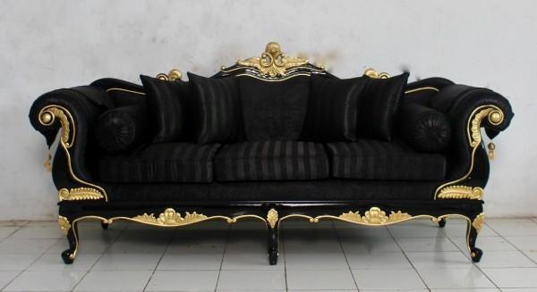Barock Sofa Polstermöbel, Repro-Antik-Design, Mahagoni massiv Holz, weiß gold