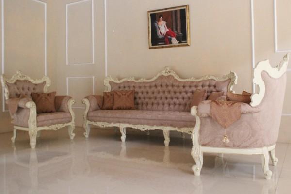 Barock Sofa Garnitur, Repro-Antik-Design, Mahagoni Massiv Holz