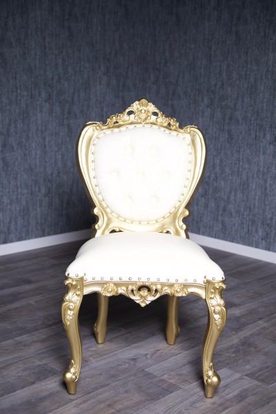 Barock Stuhl Königsstuhl Polstermöbel, Repro-Antik-Design, Mahagoni massiv Holz, belegt mit Blattgold, Kunstleder Goldnieten, aufwendige Holzschnitzerei