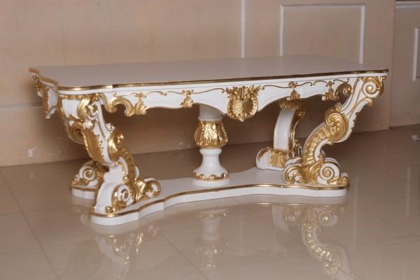 Barock Tisch Esszimmer, Repro-Antik-Design, weiß gold Dekor , Mahagoni massiv holz, Holzschnitzerei , ausgefallen exekutive