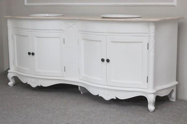 badezimmermobel weis antik, barock doppel waschtisch larissa, antik-weiß mit creme-beiger, Design ideen