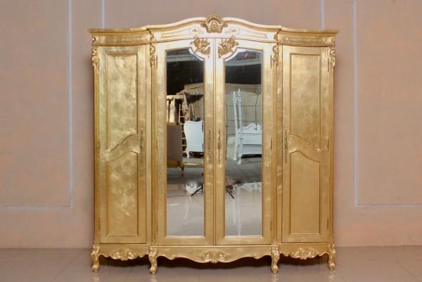 Kleiderschrank ausgefallen  Barock Kleiderschrank Yorkshire, mit Spiegel 4-türig, belegt mit ...