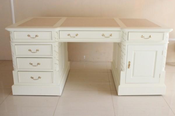 Barock Tisch Schreibtisch Partnertisch mit Schubladen und Tür, Repro-Antik-Design,Mahagoni massiv Holz weiß gold