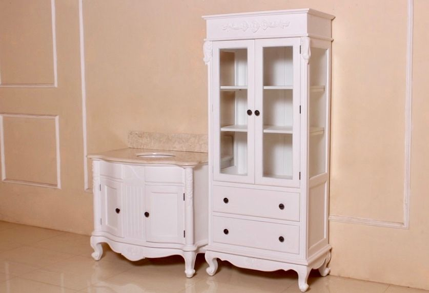 barock badezimmer larissa waschtisch mit spiegel und hochschrank in antik wei badezimmerm bel. Black Bedroom Furniture Sets. Home Design Ideas