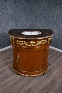 Barock Waschtisch Vanity mit creme-beiger Marmorplatte