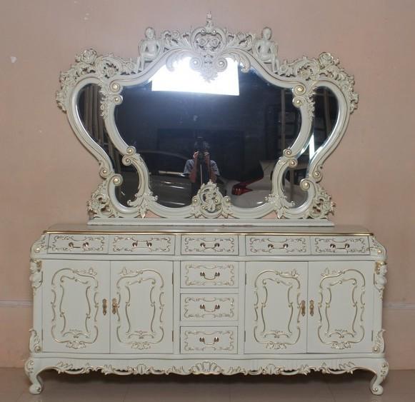 Barock Kommode Angel mit Engeln, Repro-Antik-Design, Mahagoni Massiv Holz ausgefallen, gold weiß mit Spiegel