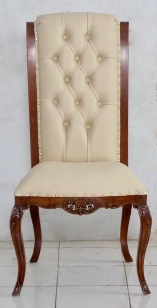 Barockstuhl Polstermöbel, Repro-Antik-Design, Mahagoni massiv Holz, Kunstleder creme mit Goldnieten, aufwendige Holzschnitzerei braun