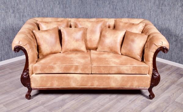 Barock Sessel Chesterfield 3-Sitzer, Repro-Antik-Design, Mahagoni massiv holz, kolonial braun, Karamell Kunstleder Bezug