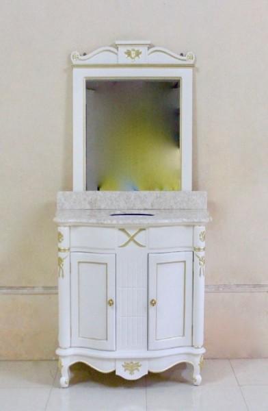 Barock Waschtisch Larissa weiß mit goldenem Dekor und Spiegel Repro Antik Design