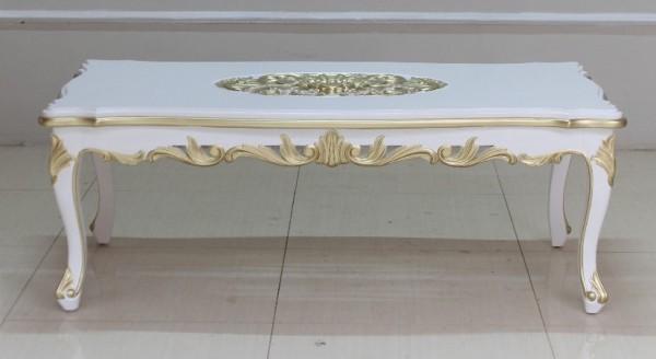 Barock Möbel, Tisch Couchtisch, Repro-Antik-Design, Mahagoni massiv holz, weiß mit gold Dekor  Schnitzerei