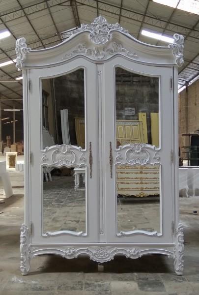 Barock Schrank Kleiderschrank 2-türig mit Spiegel, Repro-Antik-Design, Mahagoni massiv holz, silber Dekor, ausgefallen mit aufwendiger Holz schnitzerei.