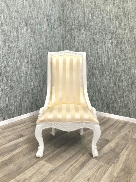 Barock Esszimmerstuhl Polstermöbel, Repro-Antik-Design, Mahagoni massiv Holz, weiß, Stoffbezug gestreift gold beige creme weiß , aufwendige Holzschnitzerei