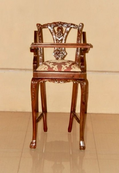 Barock Stuhl Kinderhochstuhl  Repro-Antik-Design, Mahagoni massiv holz, aufwendige Holzschnitzerei