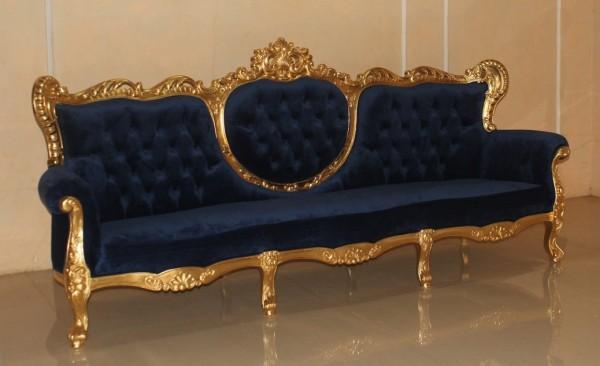 Barock Sofa 3-Sitzer, Repro-Antik-Design, Mahagoni massiv holz  aufwendige Holzschnitzerei blattgold, blauer bezug