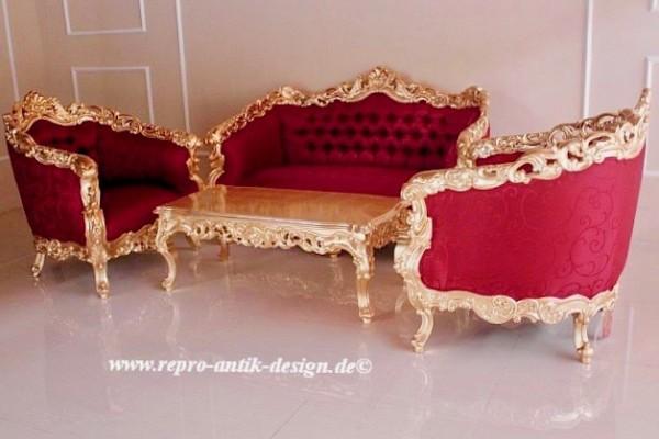 Barock Sofa Sessel Couchtisch Garnitur, Repro-Antik-Design, Mahagoni massiv Holz, belegt mit Blattgold, aufwendige Holzschnitzerei, rot Stoffbezug mit Ornamenten