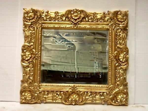 Barock Wandspiegel Spiegel , Repro-Antik-Design, Mahagoni massiv holz, gold ausgefallen exclusive
