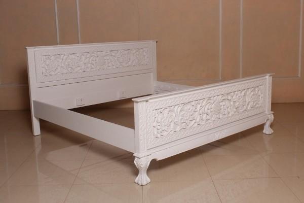 Barock Bett, Repro-Antik-Design, Mahagoni Massiv Holz ausgefallen exclusive  wei0