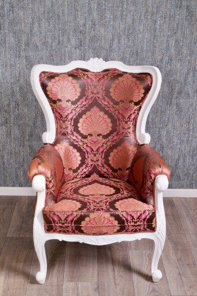 Barock Sessel Polstermöbel, Repro-Antik-Design, Mahagoni massiv Holz, Stoffbezug pink rosa , aufwendige Holzschnitzerei
