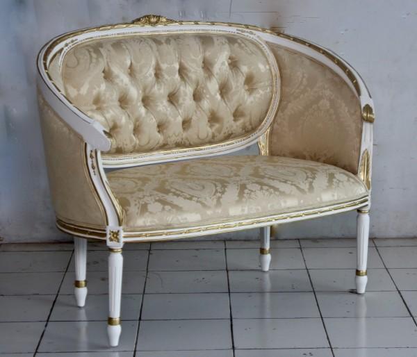 Barock Sofa Sofa 2-Sitzer, Repro-Antik-Design, Mahagoni massiv holz, weiß gold, aufwendige Holzschnitzerei